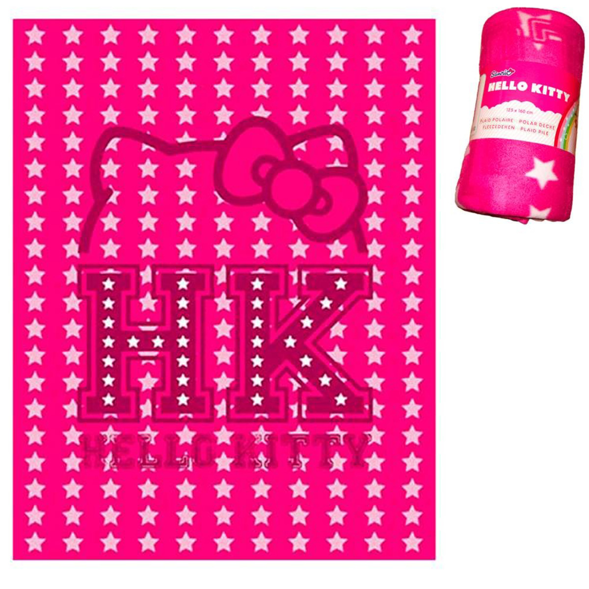 Plaid Polaire \'Hello Kitty\' rose fuschia - 125x160 cm - [Q4515]