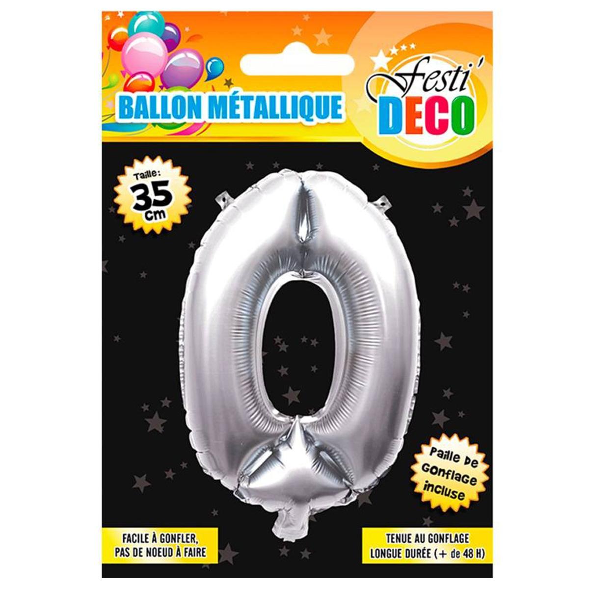 Ballon métallique \'Chiffre 0\' argenté - 35 cm - [Q4516]