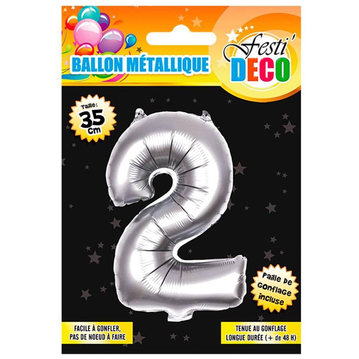 Ballon métallique \'Chiffre 2\' argenté - 35 cm - [Q4518]