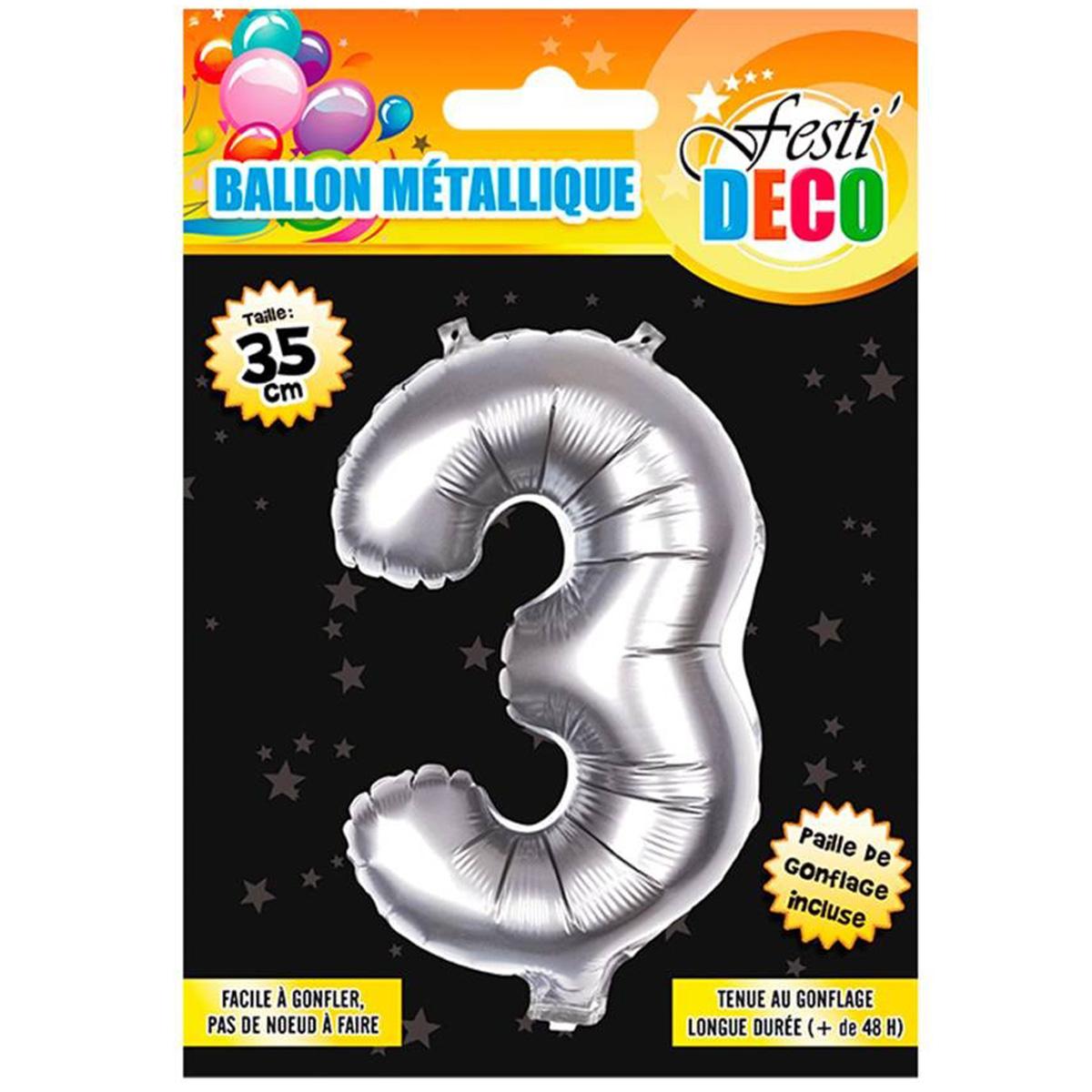 Ballon métallique \'Chiffre 3\' argenté - 35 cm - [Q4519]
