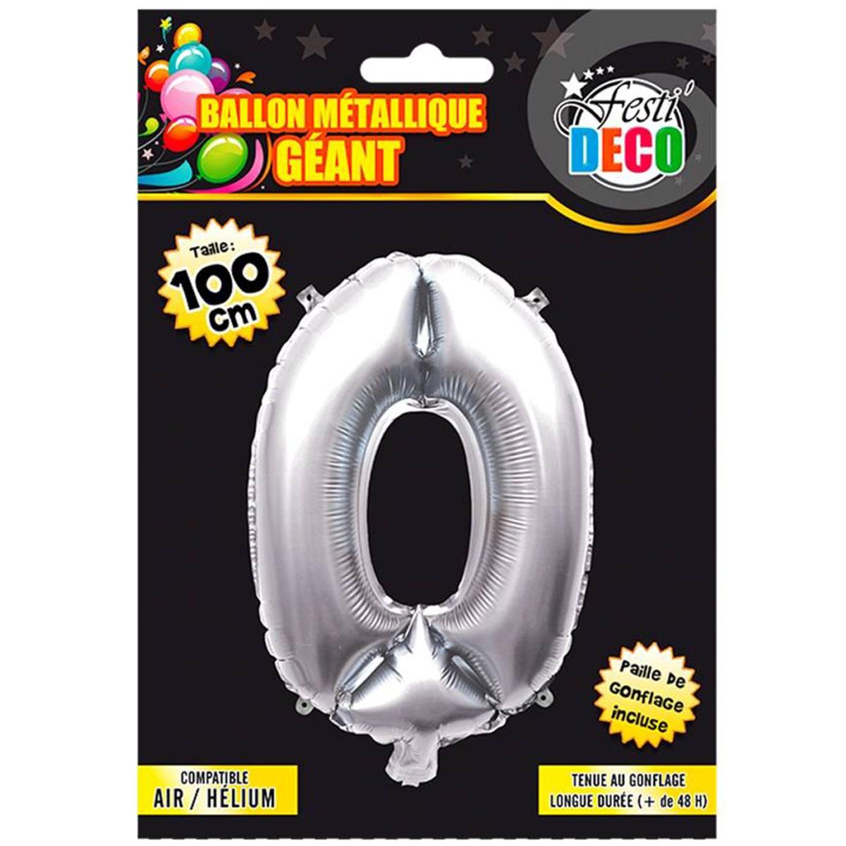 Ballon métallique \'Chiffre 0\' argenté - 1 m - [Q4526]