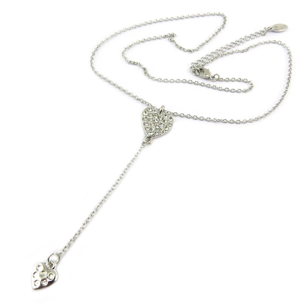 Collier Créateur \'Love\' blanc argenté - 41 cm, 8 cm - [P8147]