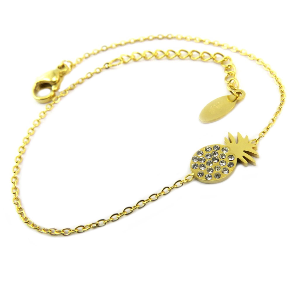 Bracelet acier \'Ananas\' blanc doré - 12x6 mm - [P8167]