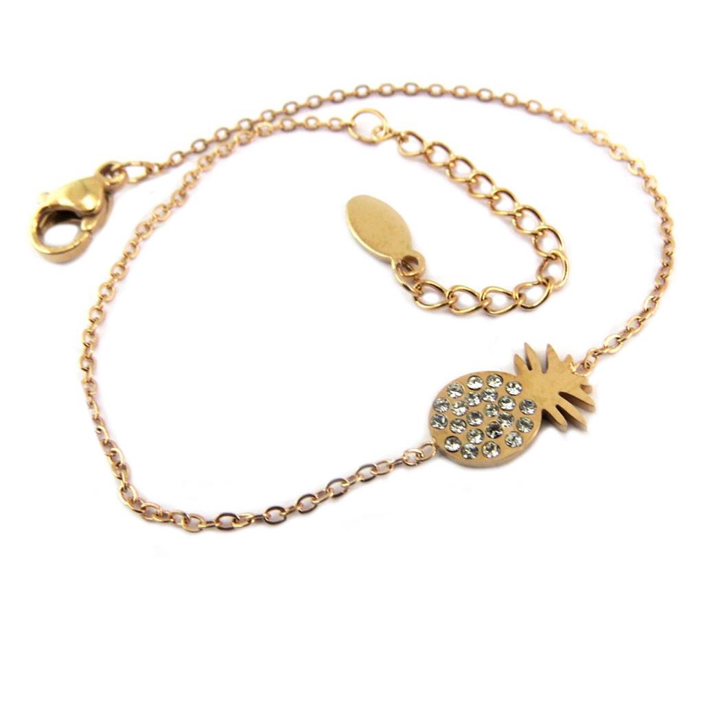 Bracelet acier \'Ananas\' blanc doré rosé - 12x6 mm - [P8168]