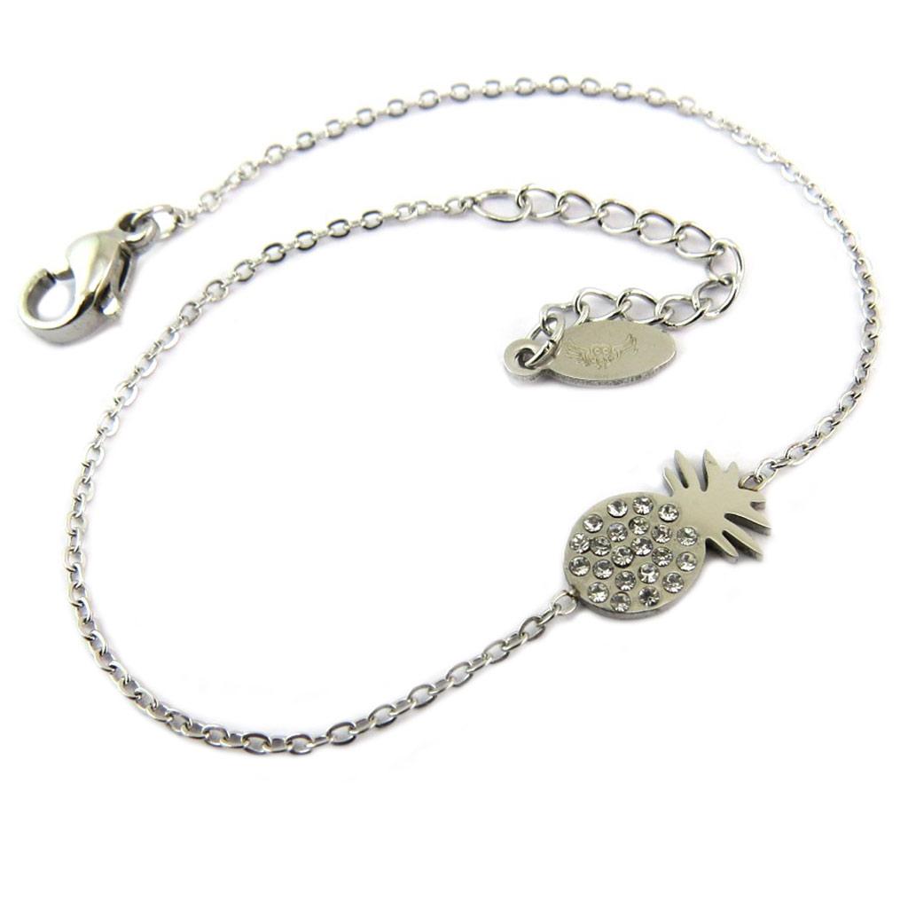 Bracelet acier \'Ananas\' blanc argenté - 12x6 mm - [P8169]