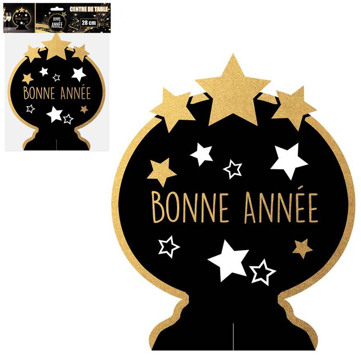 Centre de table \'Bonne Année\' noir doré - 35x25 cm - [Q4554]