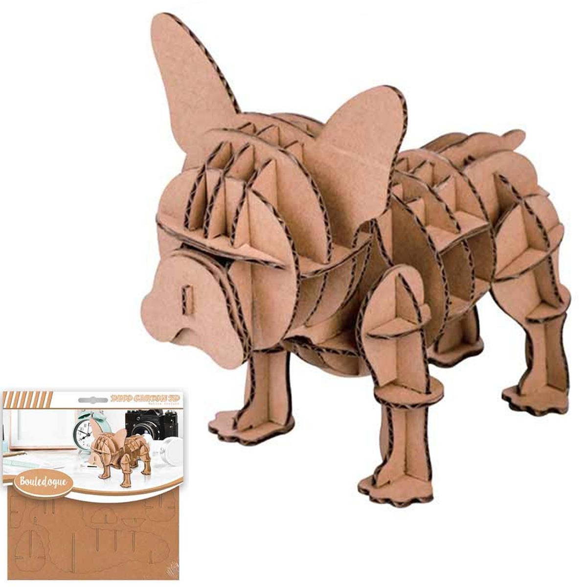 Figurine carton 3D \'Chien\' (bouledogue) - planches 165x175 cm - [Q4565]
