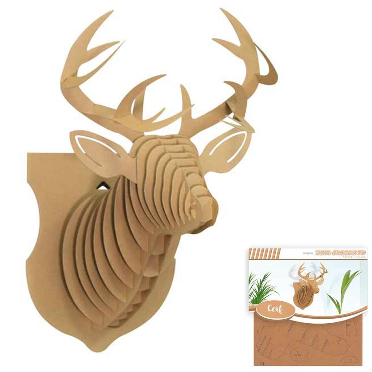 Figurine carton 3D \'Cerf\' - planches 30x305 cm - [Q4568]