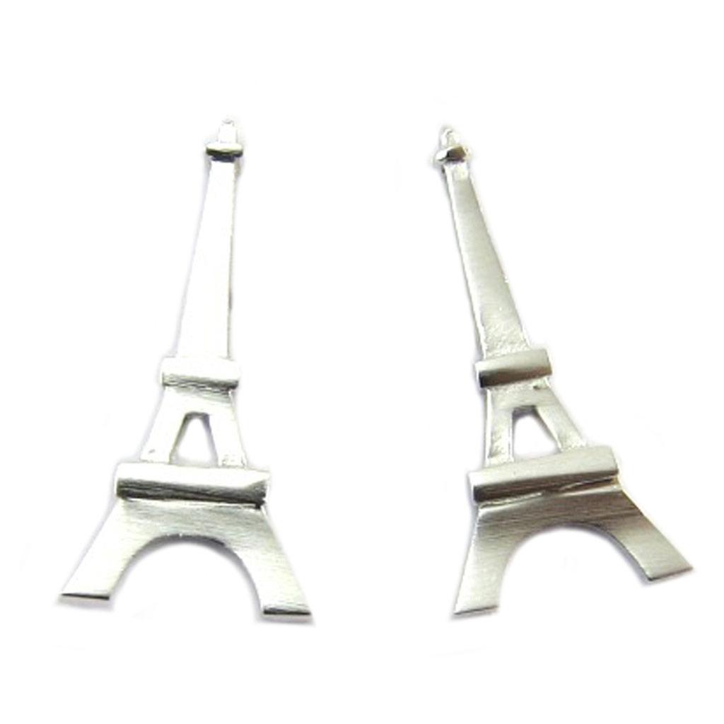 Boucles artisanales \'Tour Eiffel\' argenté - 18x9 mm - [P8210]