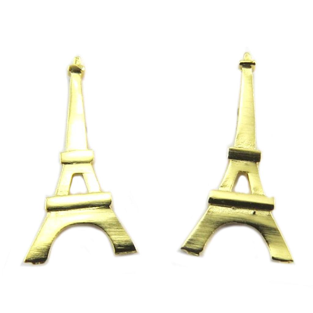 Boucles artisanales \'Tour Eiffel\' doré - 18x9 mm - [P8211]