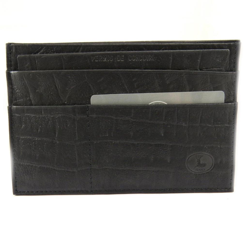 Porte Papiers de voiture Cuir \'Frandi\' noir croco (ultra plat) - [L7331]