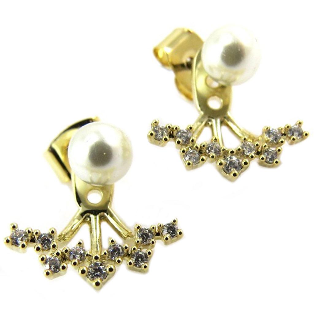 Boucles artisanales \'Sissi\' ivoire doré - 15x13 mm - [P8277]