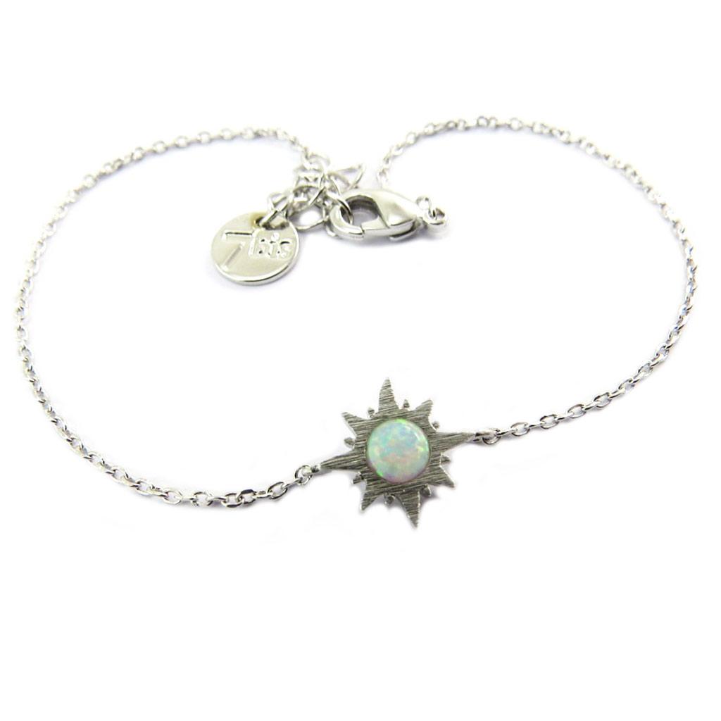 Bracelet artisanal \'Soleil\' blanc opale argenté -  10x10 mm - [P8280]