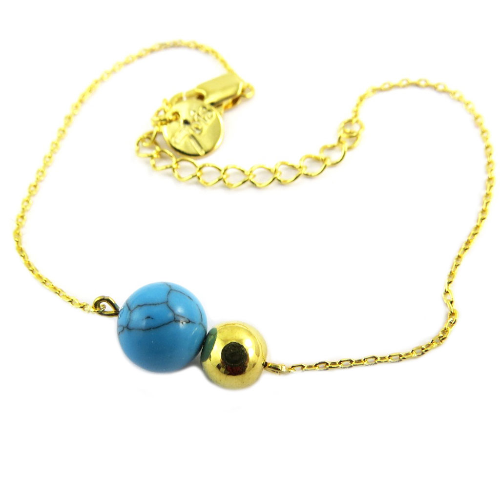 Bracelet artisanal \'Boho\' turquoise doré - 13x8 mm - [P8281]