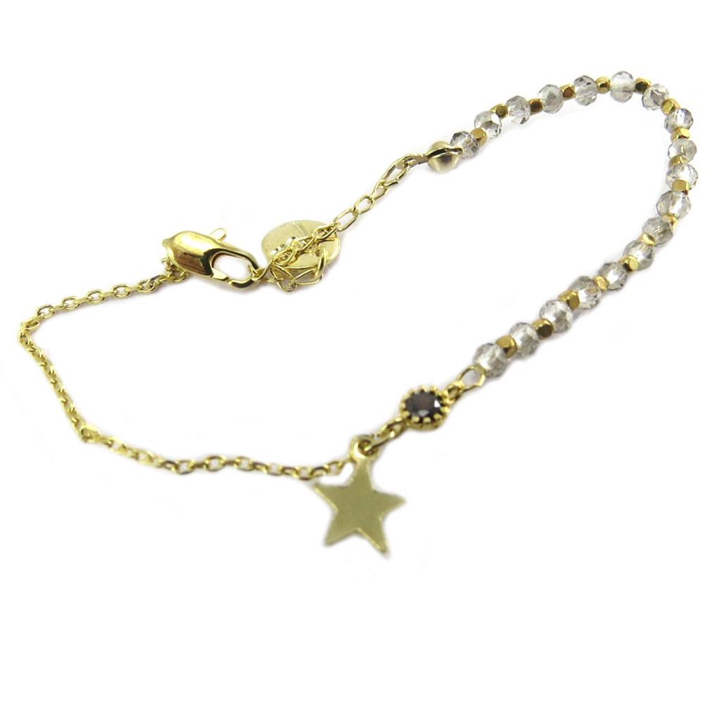 Bracelet artisanal \'Une Etoile est Née\' gris doré -  6x6 mm - [P8289]