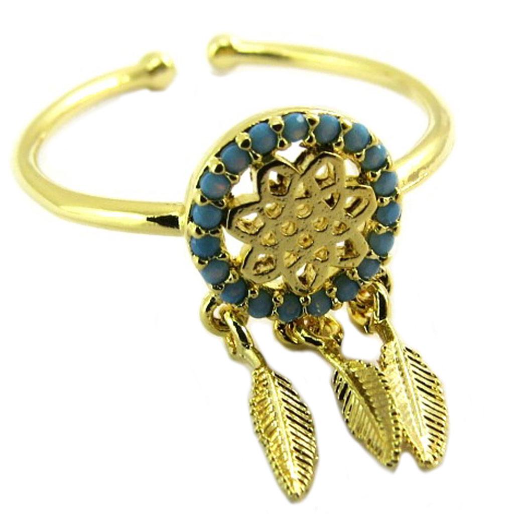 Bague artisanale \'Boho\' turquoise doré (dreamcatcher) - 13x8 mm - [P8345]