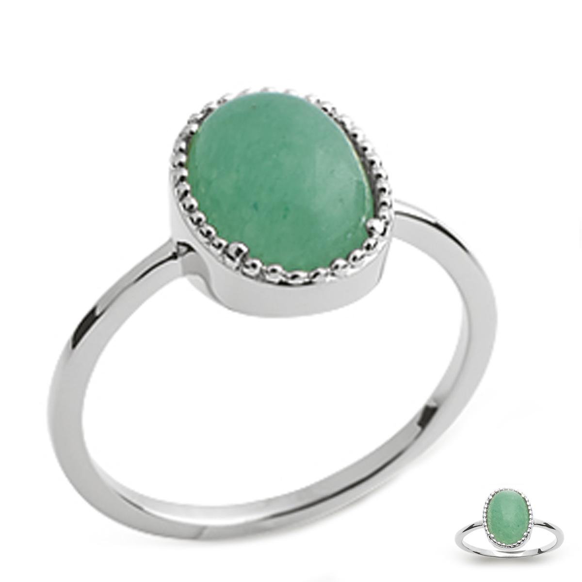 Bague Argent \'Cléopatra\' vert aventurine argenté (rhodié) - 12x9 mm - [Q4728]