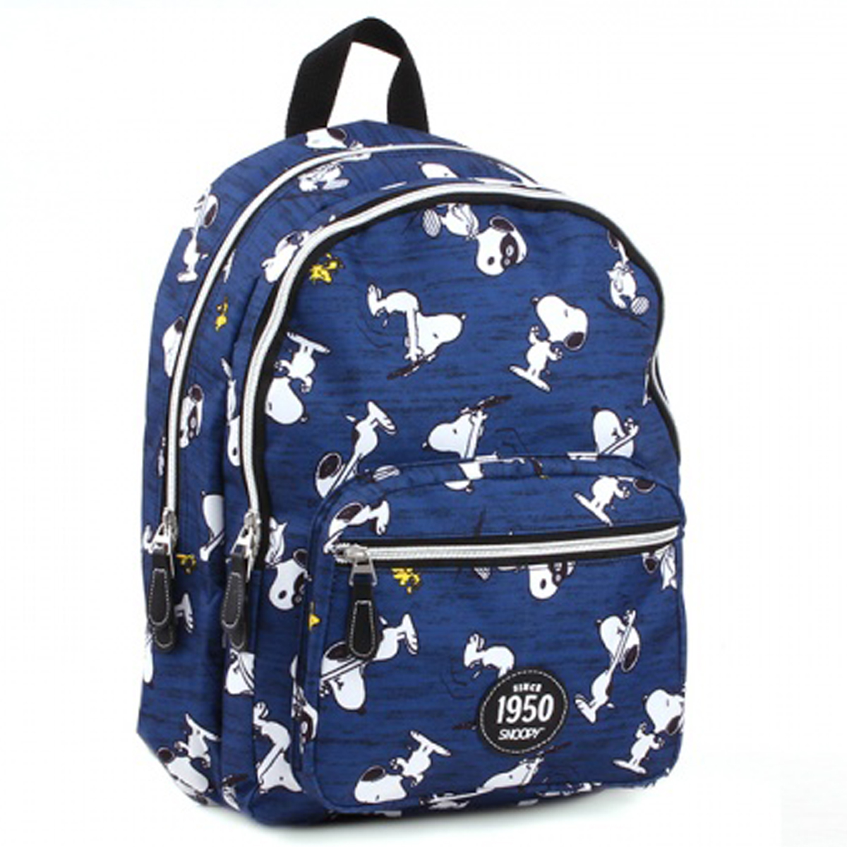 Sac à dos créateur \'Snoopy\' bleu blanc (2 compartiments) - 38x26x14 cm - [Q4737]