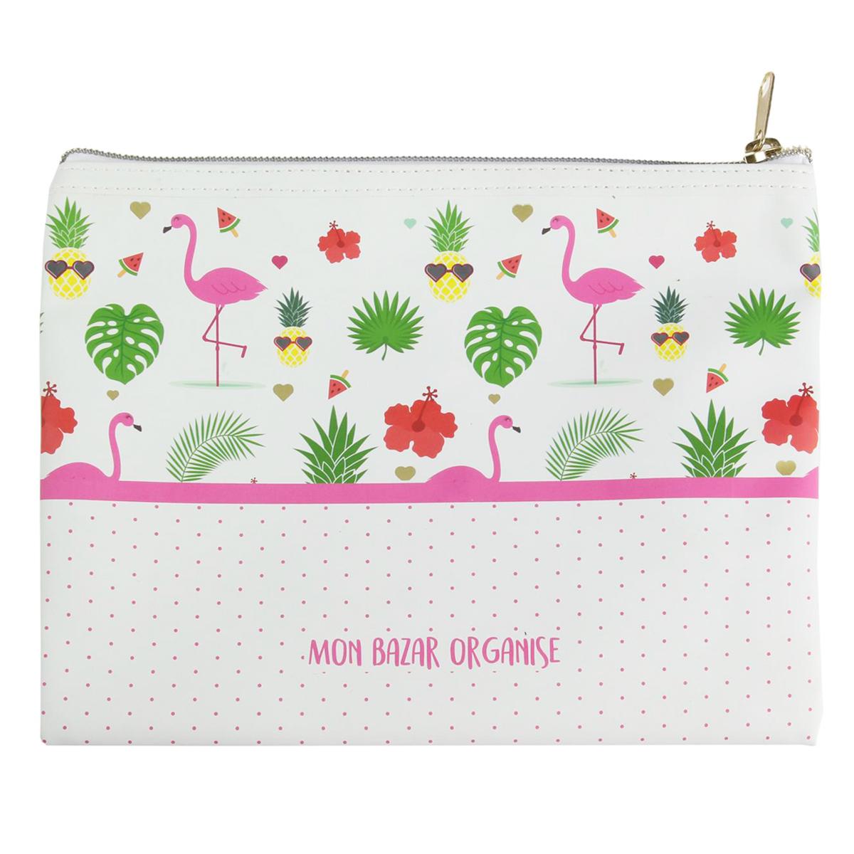 Trousse à maquillage \'Messages\' flamant rose (mon bazar organisé) - 22x175 cm - [Q4745]