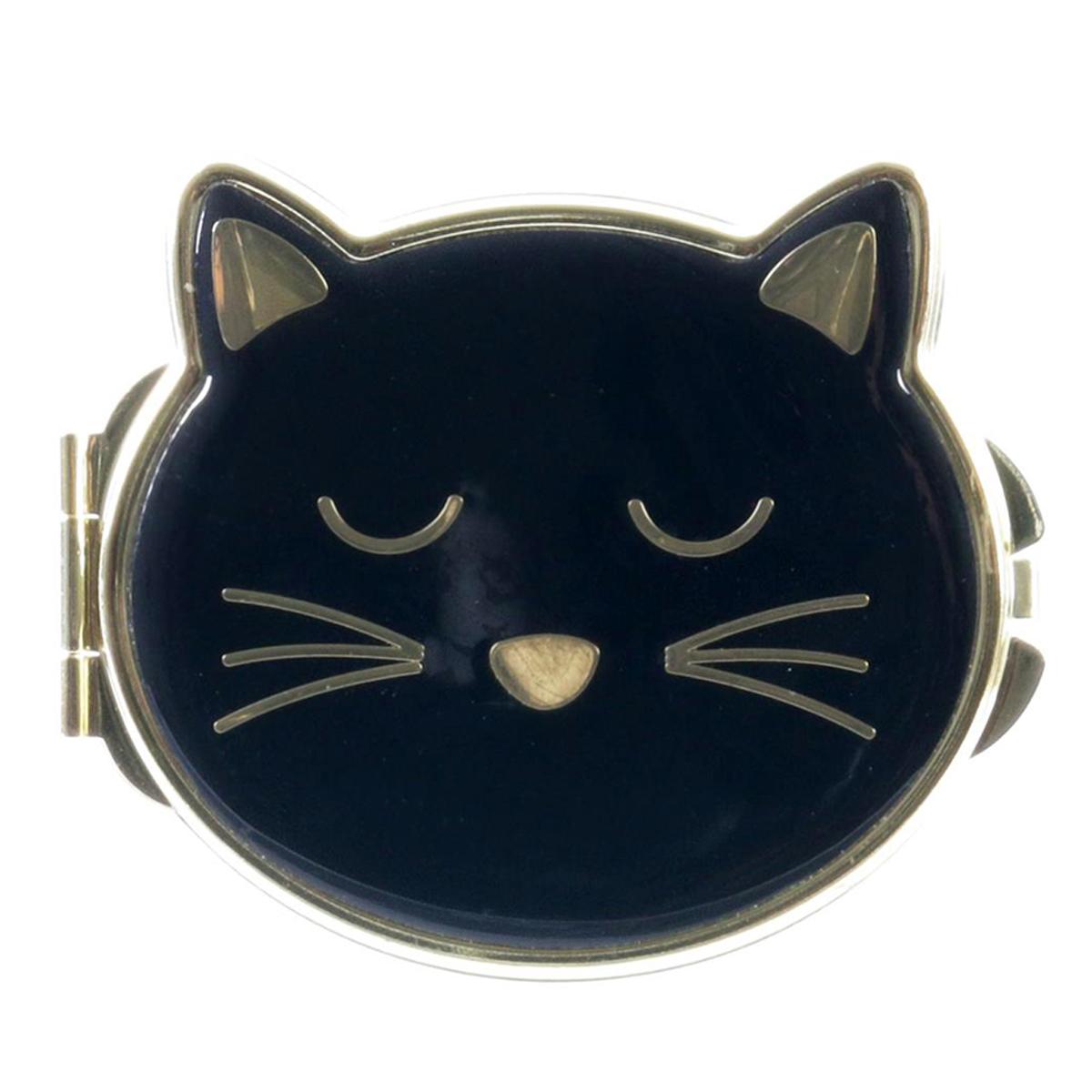 Miroir de poche \'Chats\' noir doré - 8x7 cm - [Q4767]