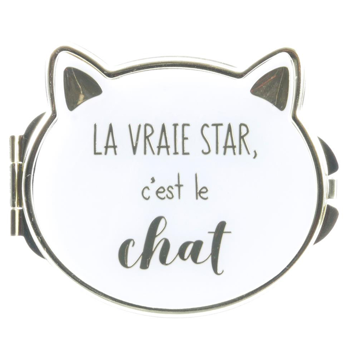 Miroir de poche \'Chats\' blanc (la vraie star c\'est le chat) - 8x7 cm - [Q4769]