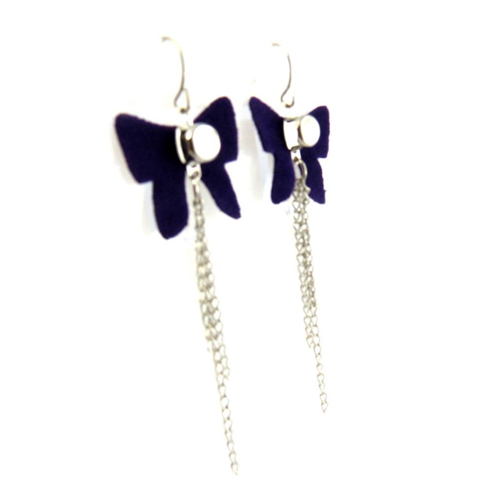 Boucles Créateur \'Noeud Romantique\' violet (tissu) - [L7489]