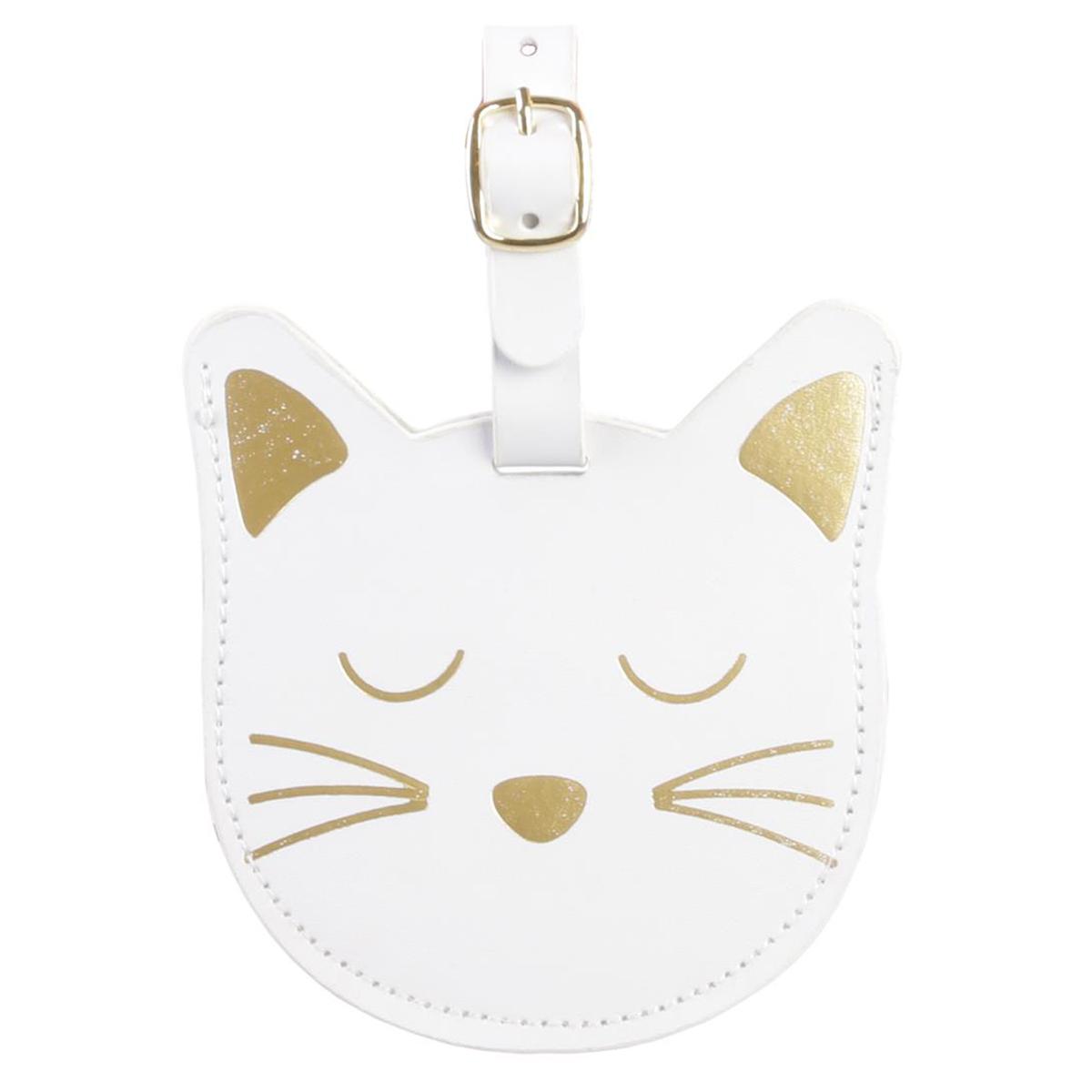 Porte-étiquette de bagage \'Chats\' blanc doré - 11x8 cm - [Q4779]