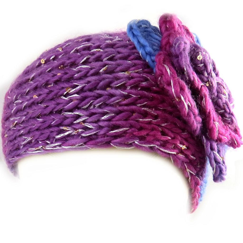 Bandeau Cache oreilles \'Clothilde\' violet - [L7545]