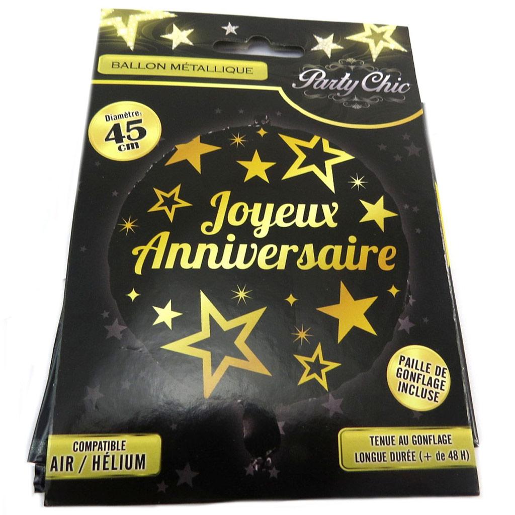 Ballon métallique \'Joyeux Anniversaire\' noir doré - 45 cm - [P8502]