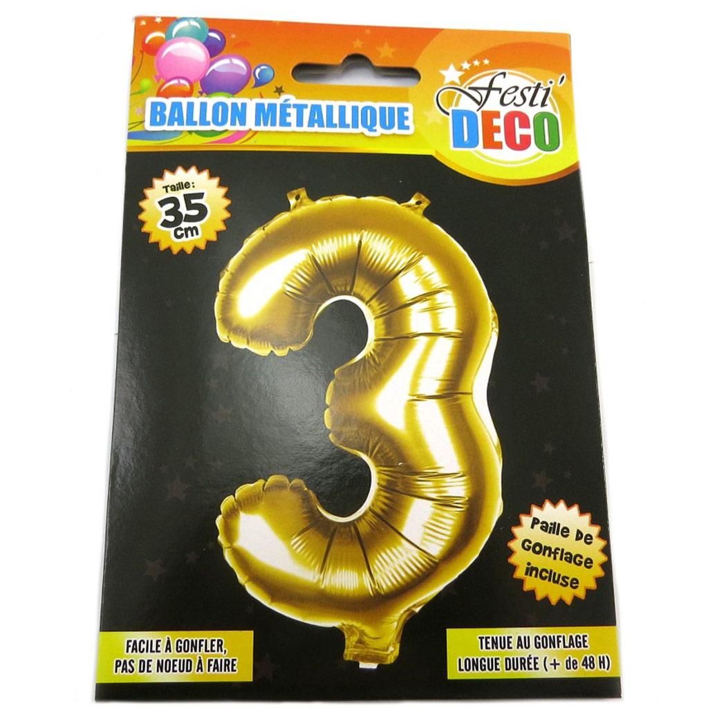 Ballon métallique \'Chiffre 3\' doré - 35 cm - [P8532]