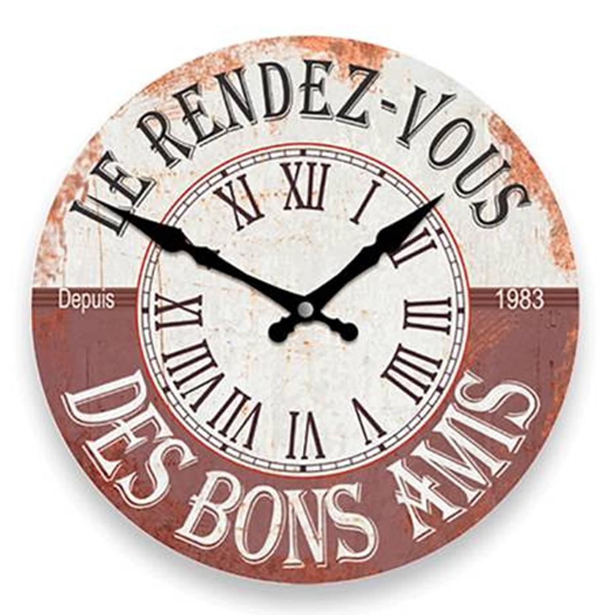 Horloge Murale \'Apéro Vintage\' marron beige (le rendez vous des bons amis) -  28 cm - [P8538]