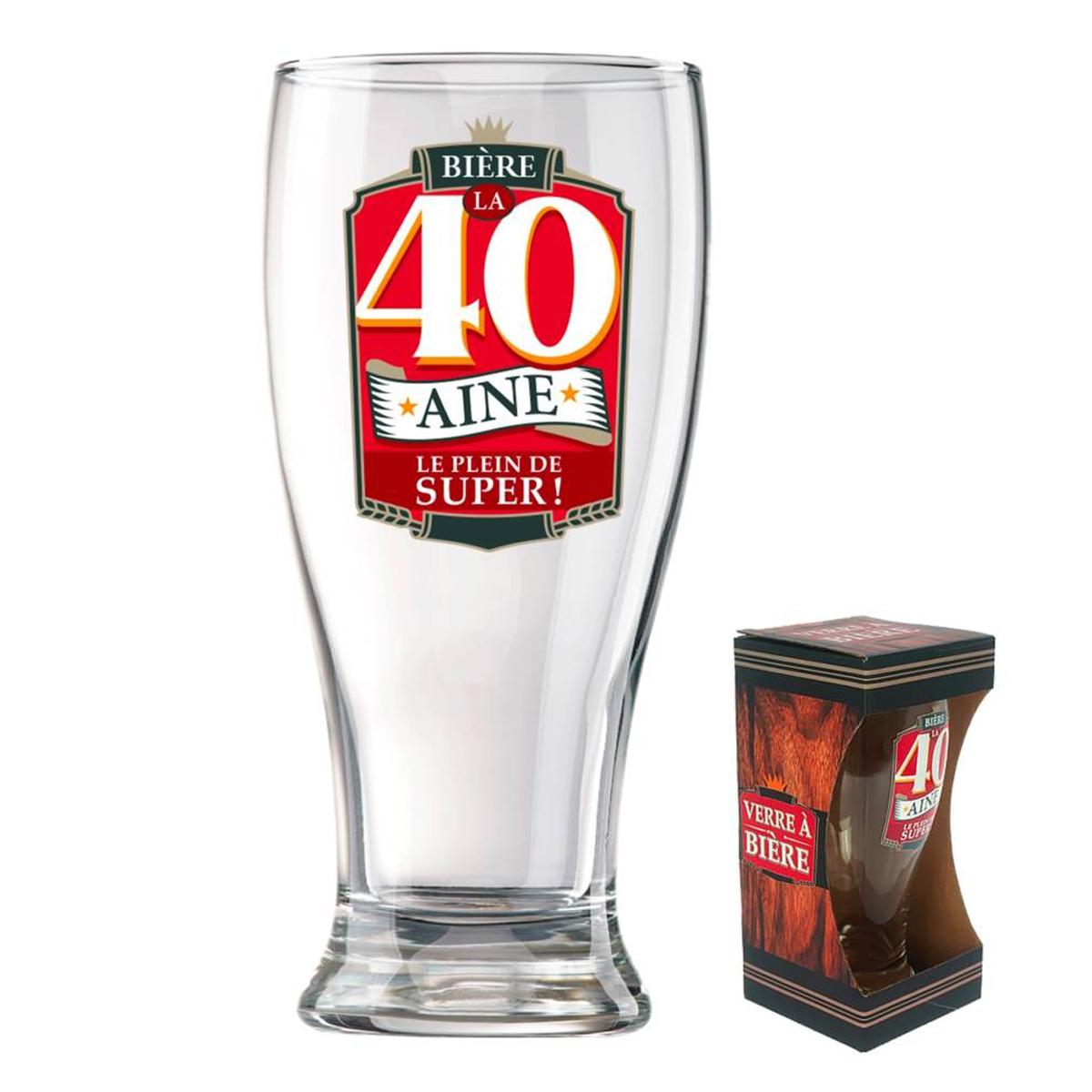 Verre à bière \'40 ans\' (Le plein de super !)  - 18x8 cm - [P8544]