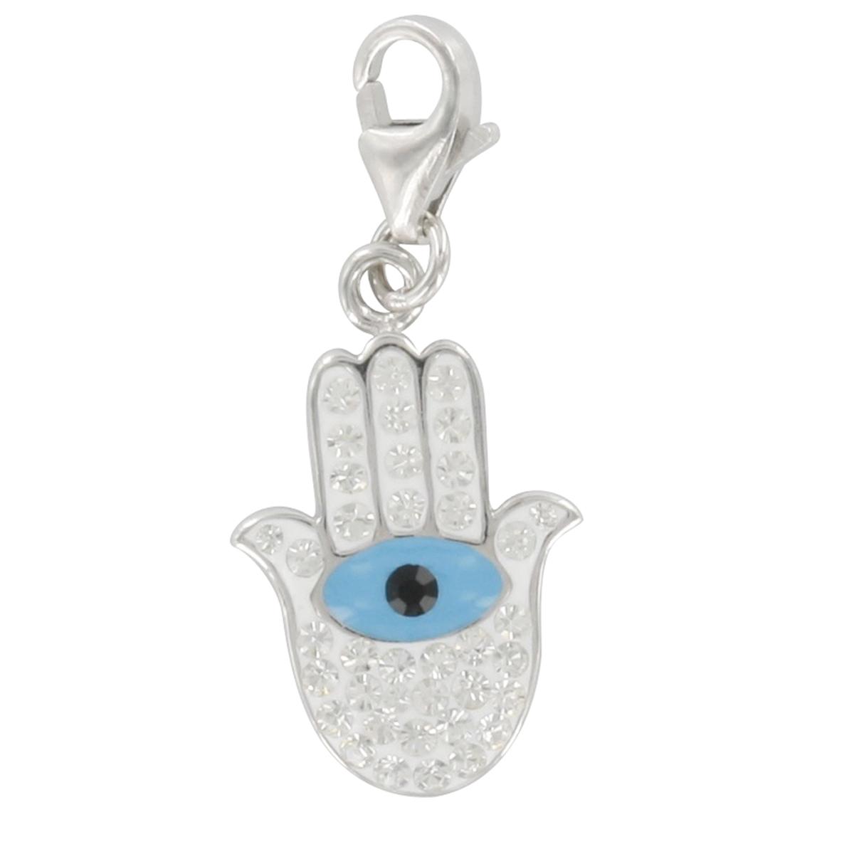 Pendentif charm argent \'Main de Fatma\' turquoise blanc argenté (rhodié) - 17x13 mm - [Q4904]
