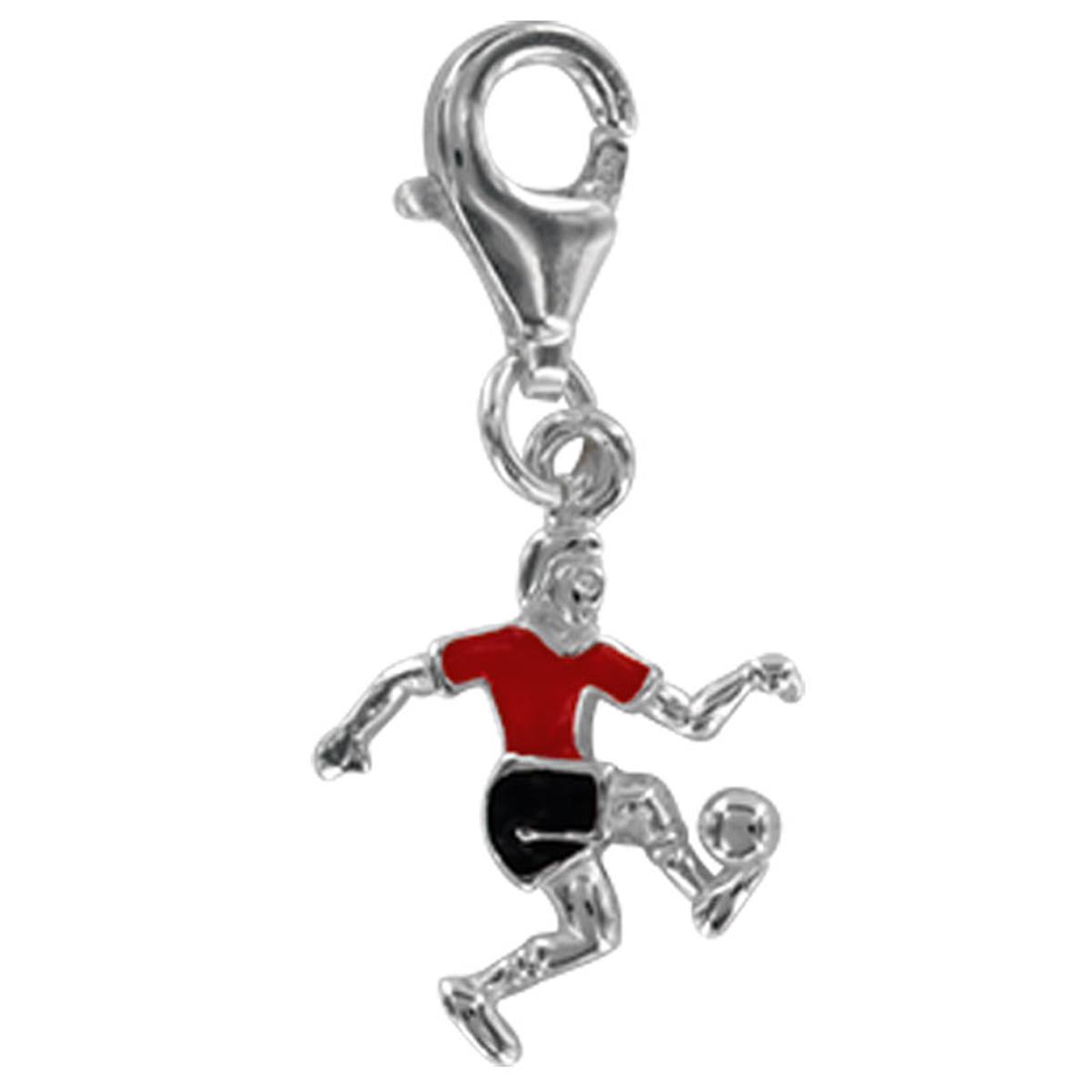 Pendentif charm argent \'Football\' rouge noir argenté (rhodié) - 14x12 mm - [Q4916]