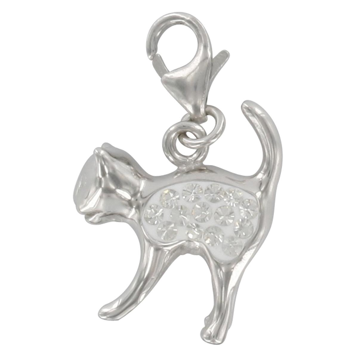 Pendentif charm argent \'Chat\' blanc argenté (rhodié) - 18x15 mm - [Q4919]