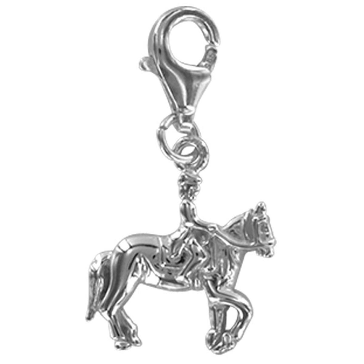 Pendentif charm argent \'Equitation\' argenté (rhodié) - 20x18 mm - [Q4920]