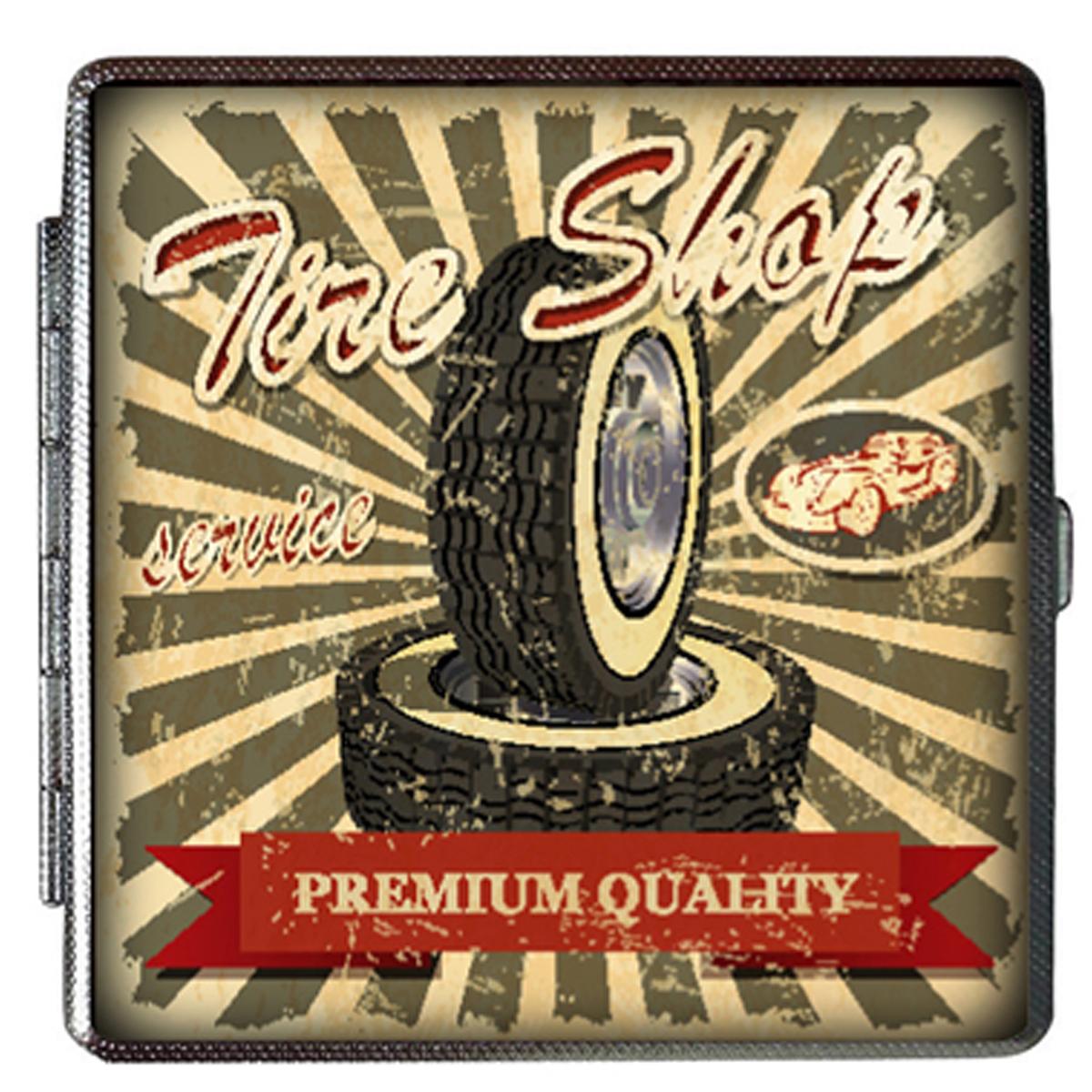 Etui à cigarettes \'Classic Cars\' gris rouge (vintage) - 100x94x20 mm - [Q4990]