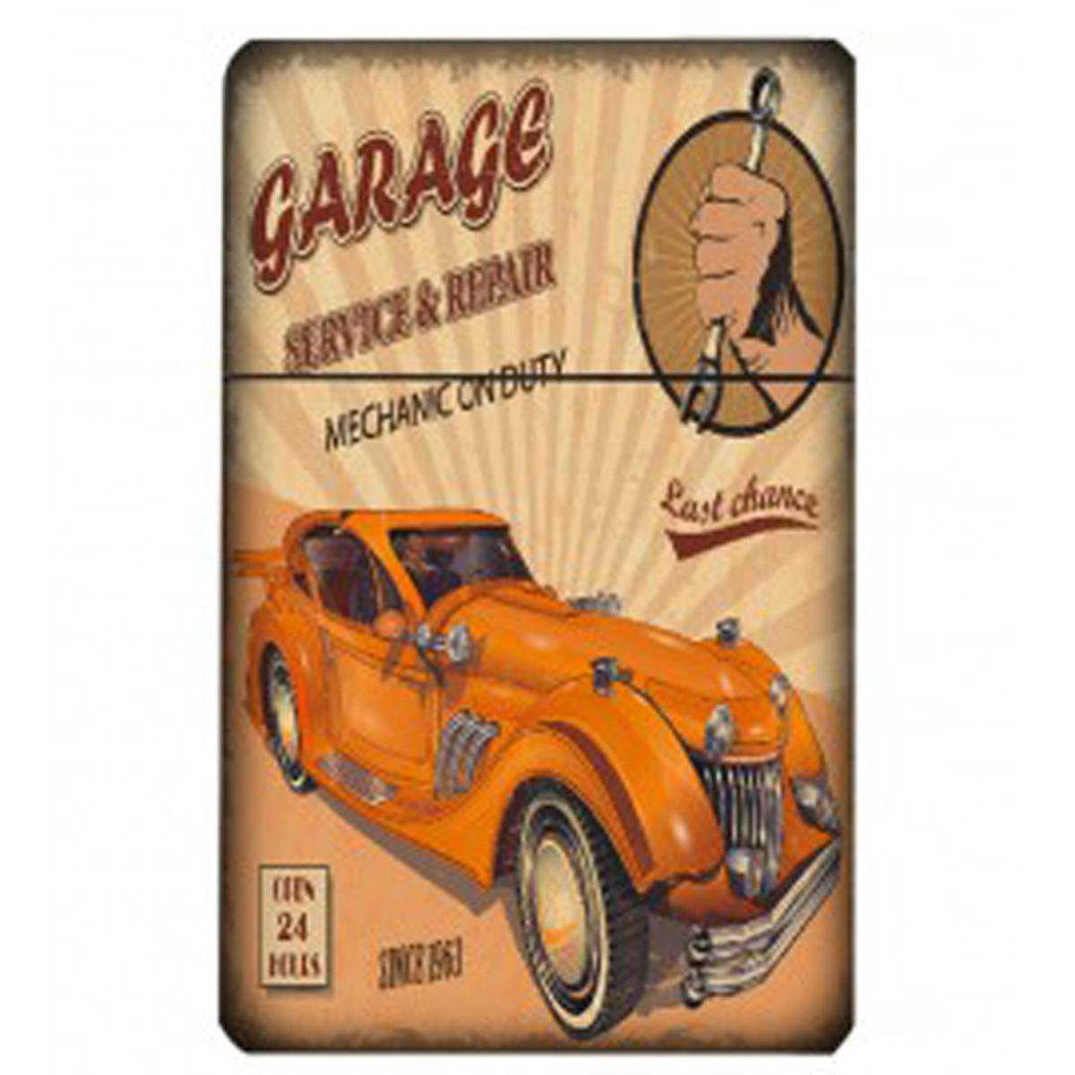 Etui à paquet de cigarettes \'Classic Cars\' orange beige (vintage) - 95x60x28 mm - [Q4992]