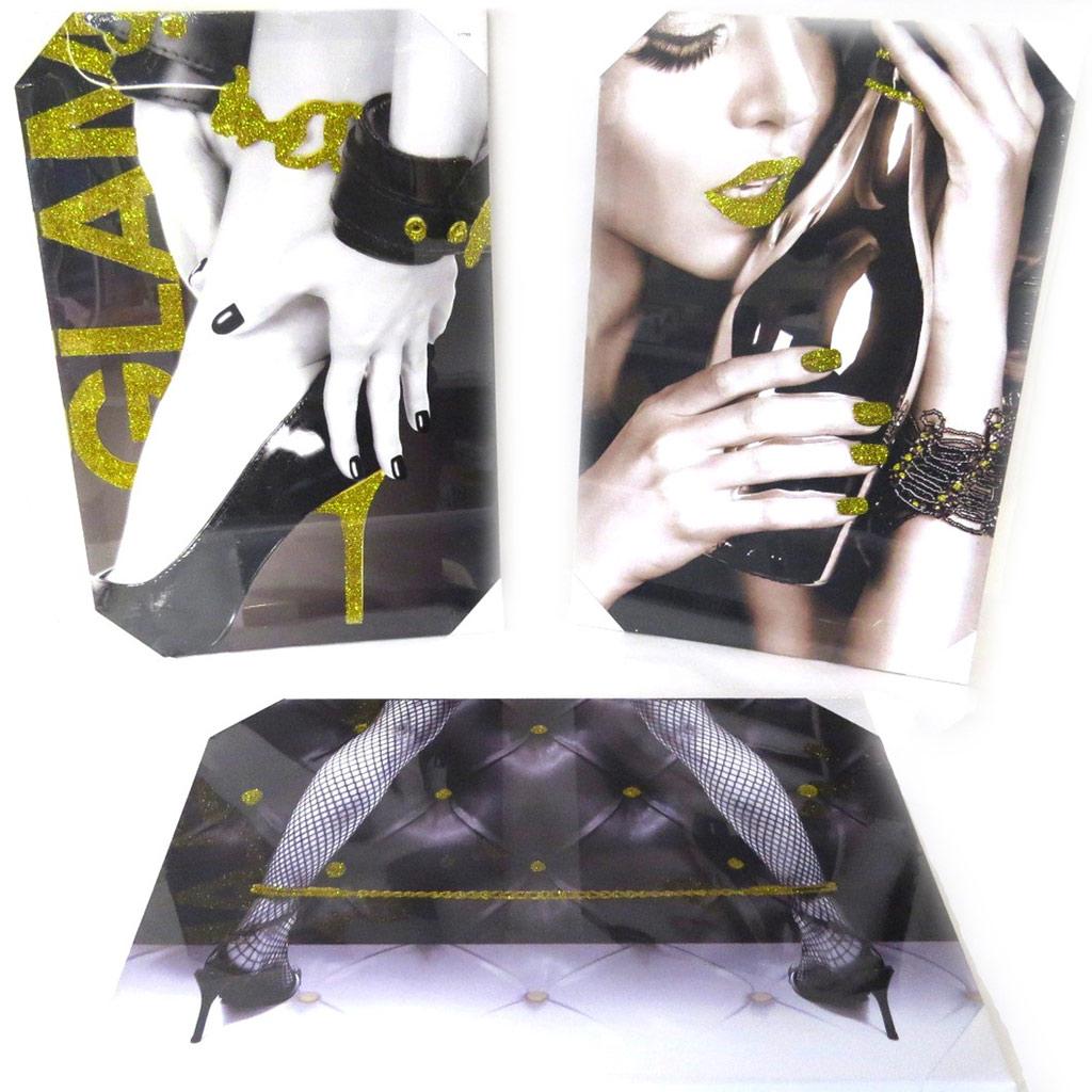 Set de 3 toiles \'Sexy Angel\' noir doré (40x60 cm) - [L7769]