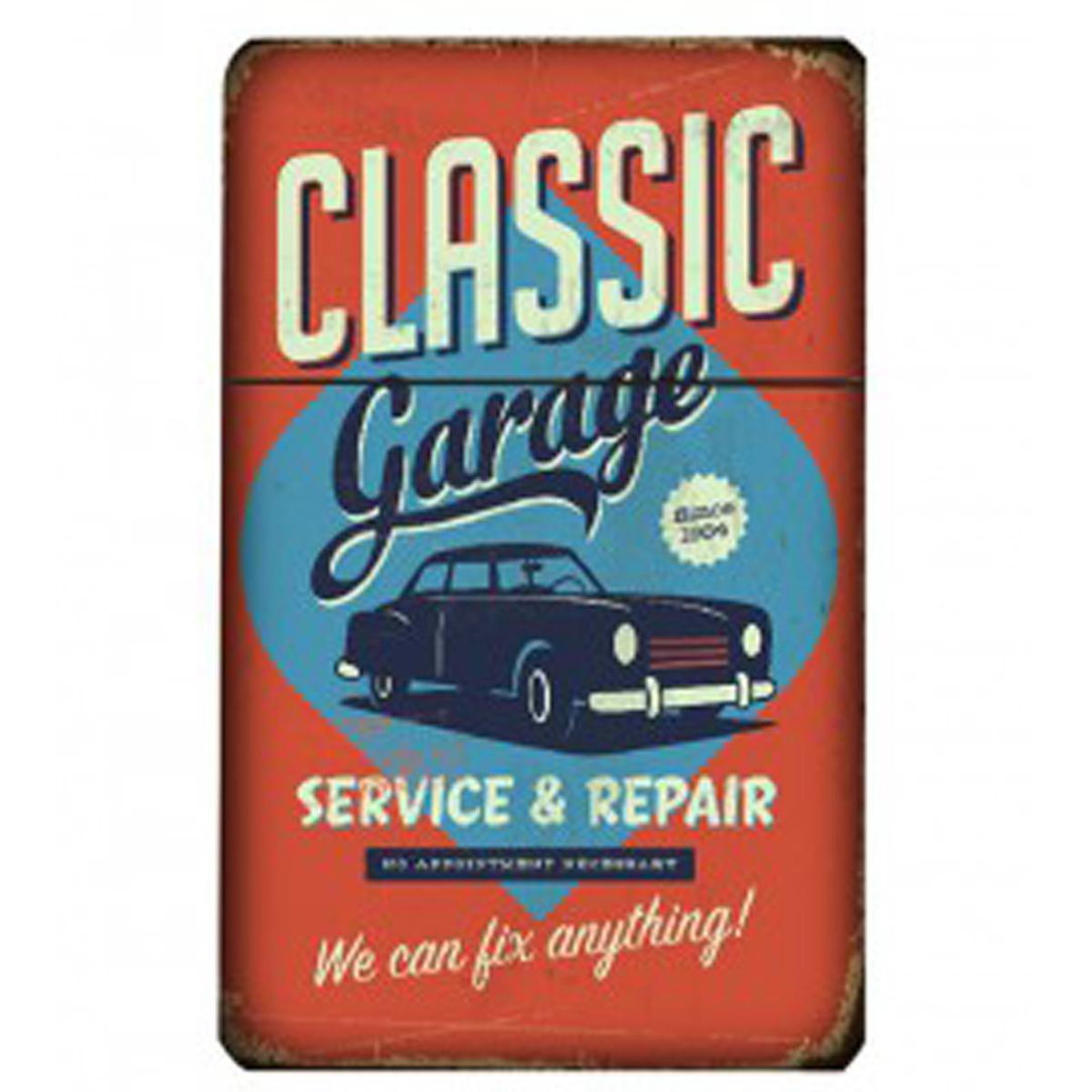 Etui à paquet de cigarettes \'Classic Cars\' rouge bleu (vintage) - 95x60x28 mm - [Q4993]