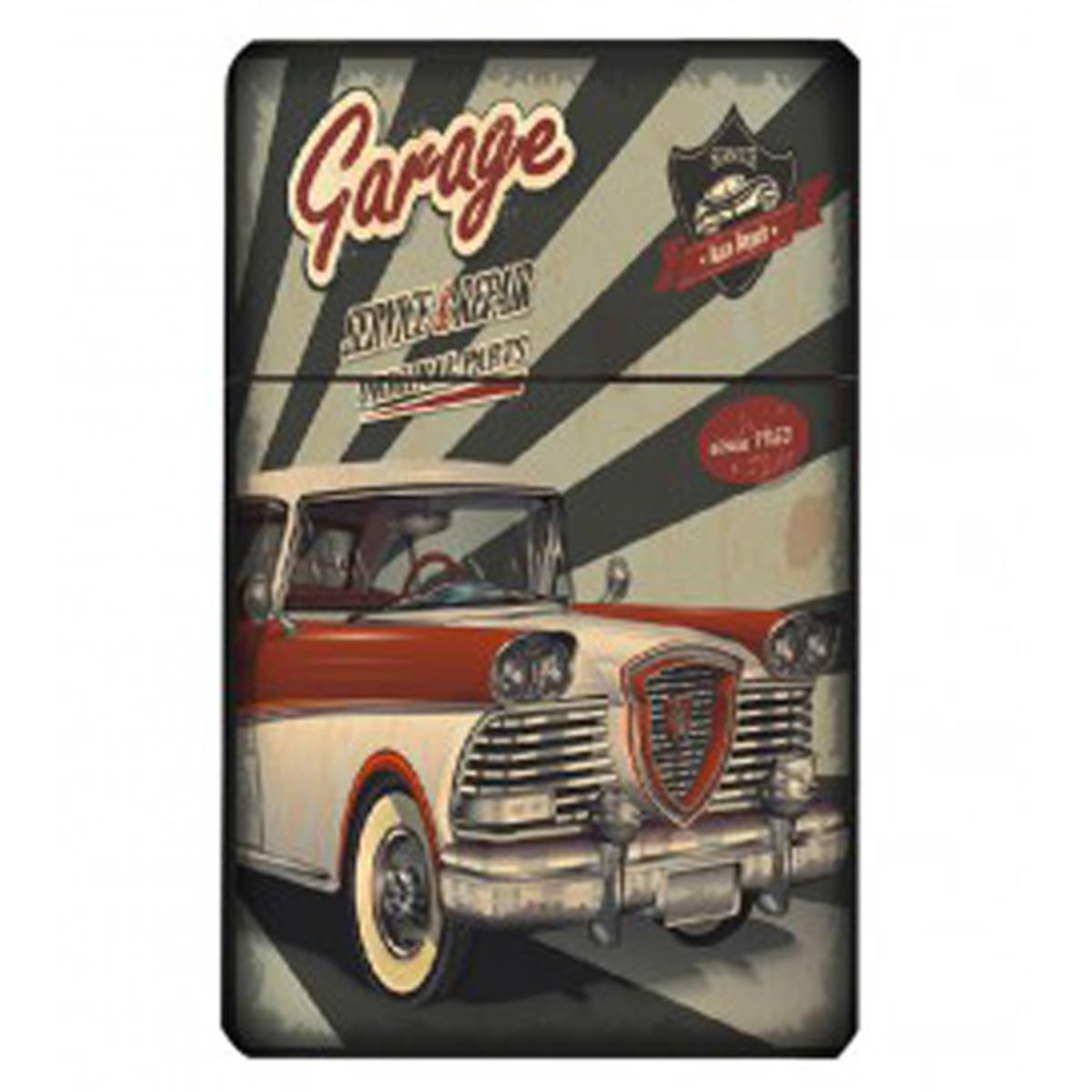 Etui à paquet de cigarettes \'Classic Cars\' gris rouge (vintage) - 95x60x28 mm - [Q4994]