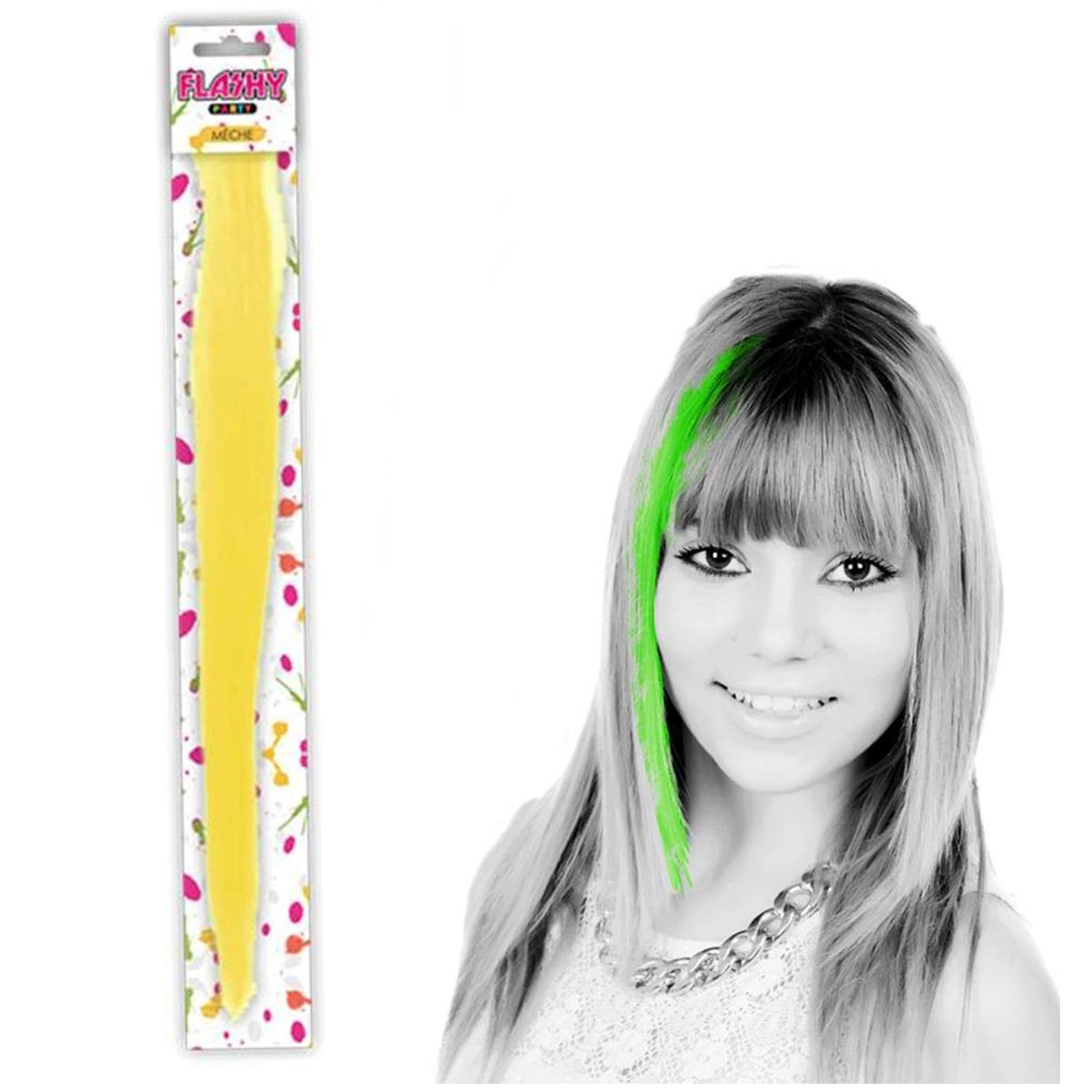 Mèche \'Coloriage\' jaune (faux cheveux) - 40 cm - [Q5007]