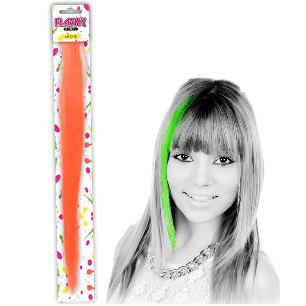 Mèche \'Coloriage\' orange (faux cheveux) - 40 cm - [Q5009]