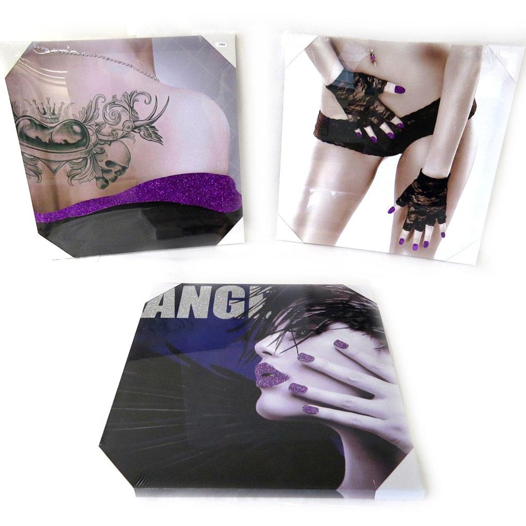 Set de 3 toiles \'Sexy Angel\' violet (40x40 cm) - [L7823]
