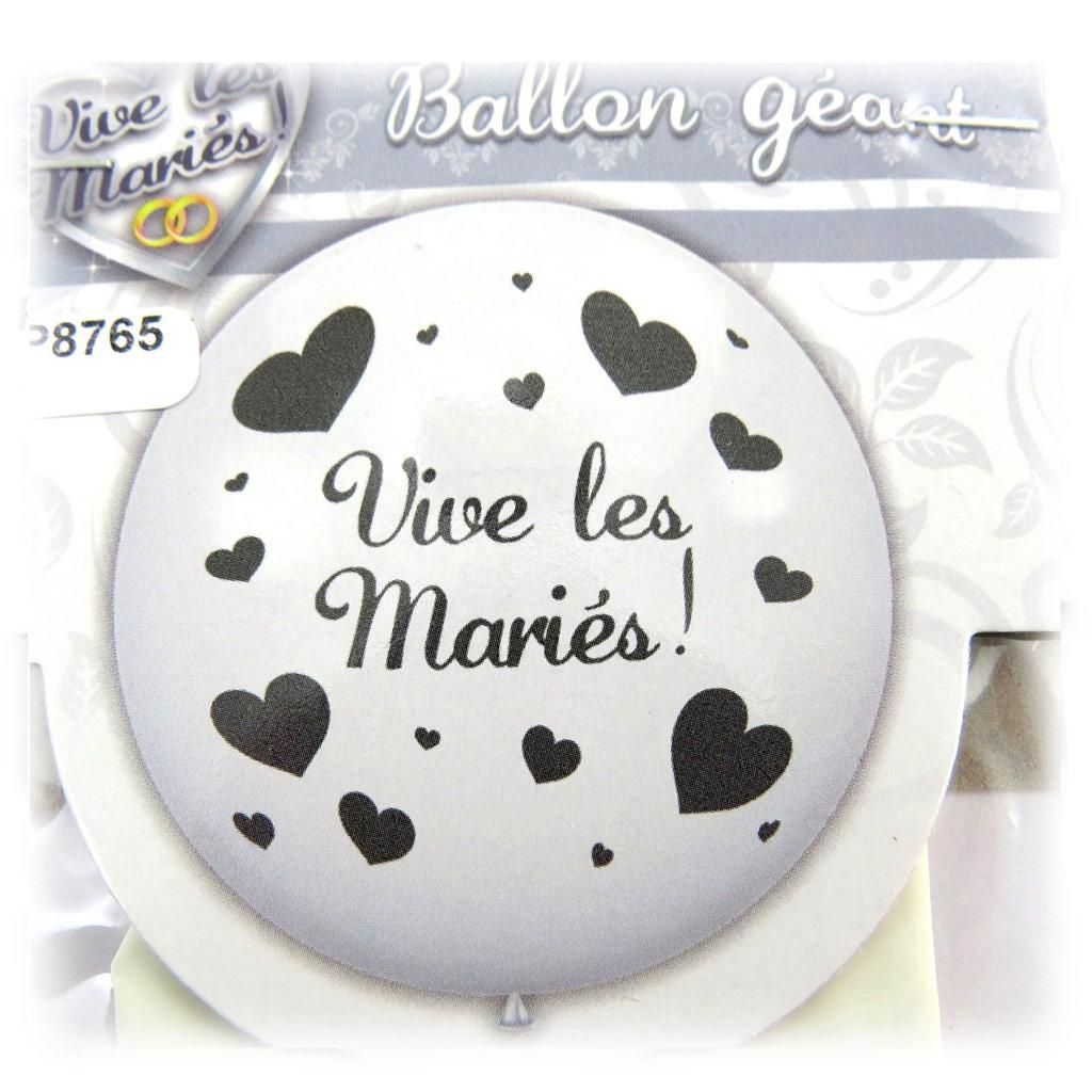 Ballon géant \'Vive les Mariés\' blanc - 1 m - [P8765]