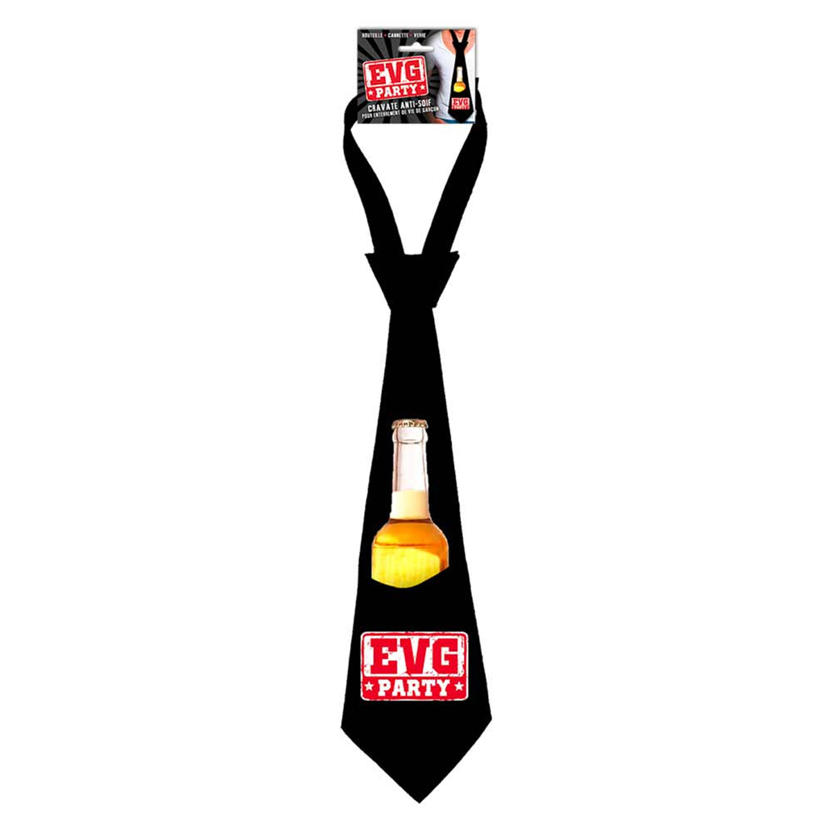 Cravate anti-soif \'Enterrement de vie de garçon\' noir - [P8772]