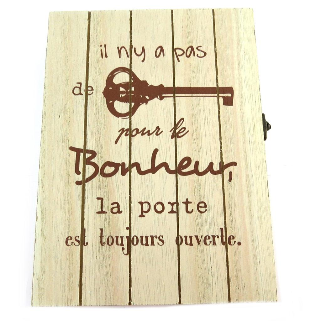 Boite à clés bois \'Message\' (Il n\'y a pas de clé pour le Bonheur, la porte est toujours ouverte)(6 crochets) - 24x175x45 cm - [P8817]