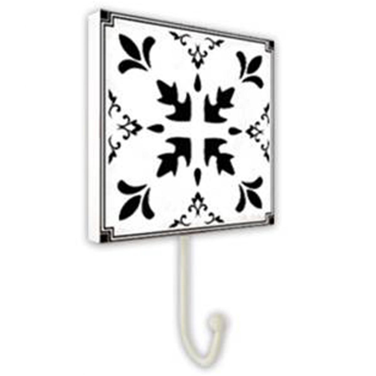 Patère \'Carreaux\' blanc noir - 10x10 cm - [P8825]