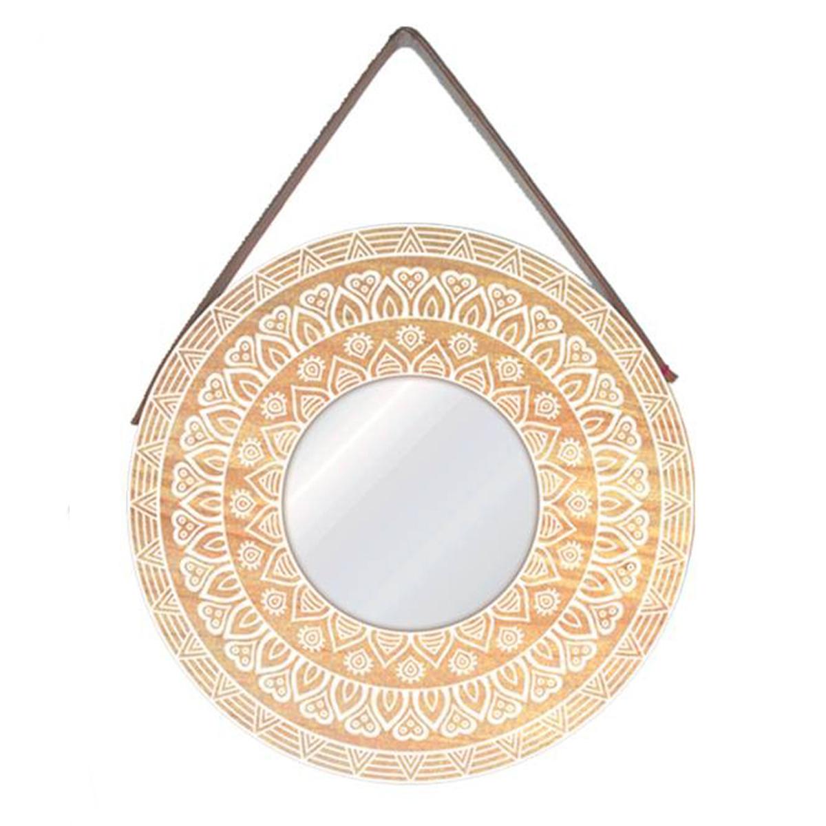 Miroir mural \'Boho\' beige blanc (mandala) - 39 cm - [P8854]