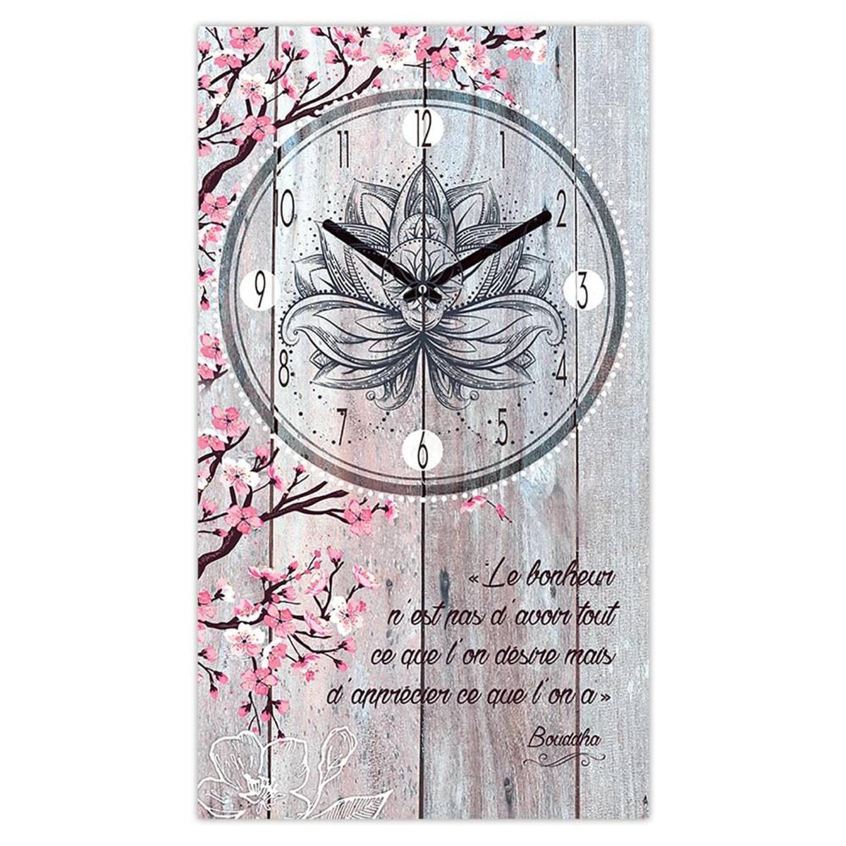 Horloge Murale \'Boho\' bordeaux (Le Bonheur n\'est pas d\'avoir tout ce que l\'on désire mais d\'apprécier ce que l\'on a - Bouddha) - 49x28 cm - [Q5120]